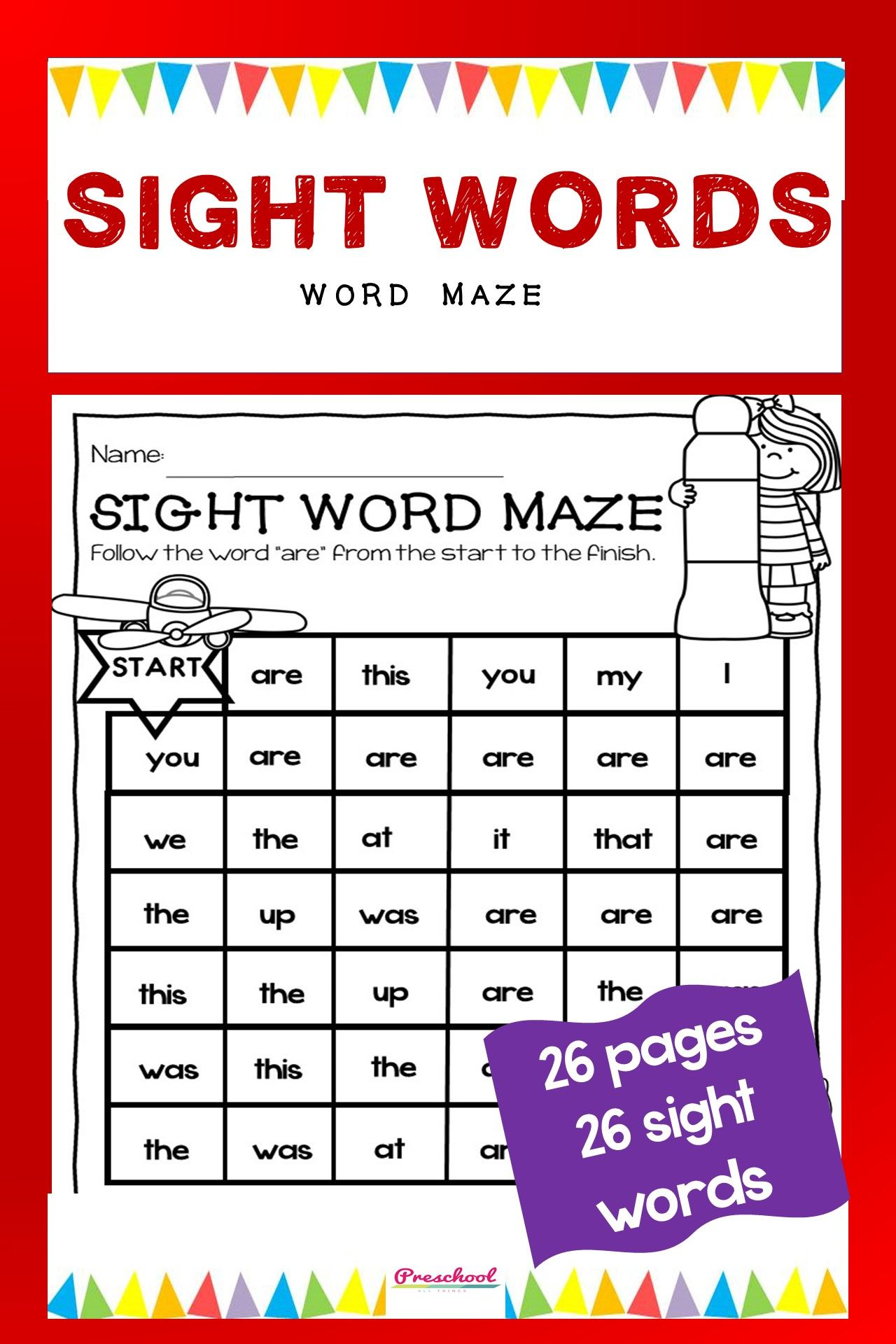 Sight Words Spot It And Dot It Maze In