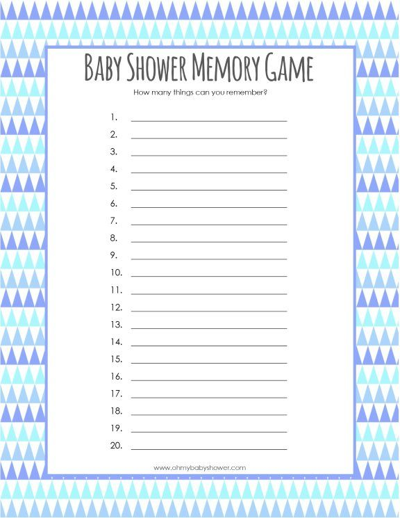 Baby Item Memory Game | Oh My Baby Shower