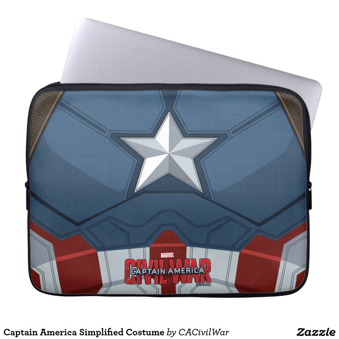 Captain America Simplified Costume Laptop Sleeves. Regalos, Gifts. #fundas #sleeves