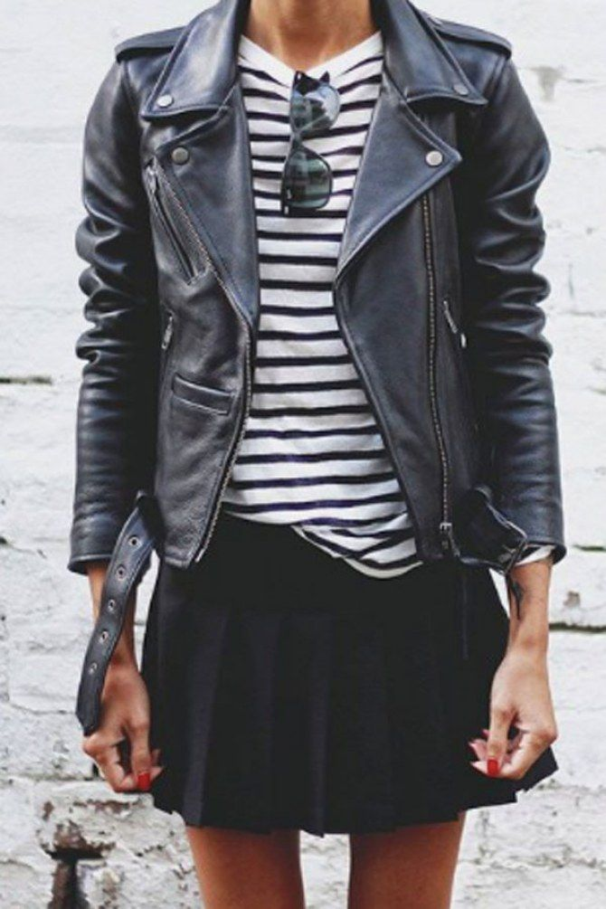 Leather keeps stripes edgy