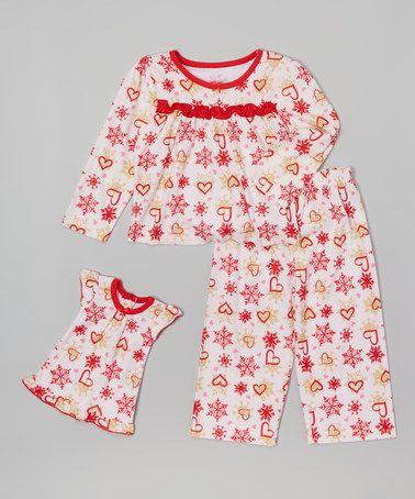 5ba3cd23c041 This Red Heart   Snowflake Pajama Set   Doll Dress - Toddler   Girls ...