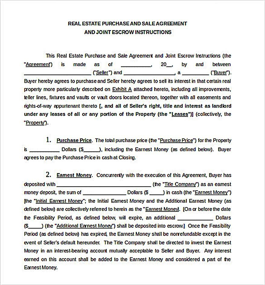 Free Sales Agreement Template Real Estate Purchase Sale Agreement Document  Reliable Sales .