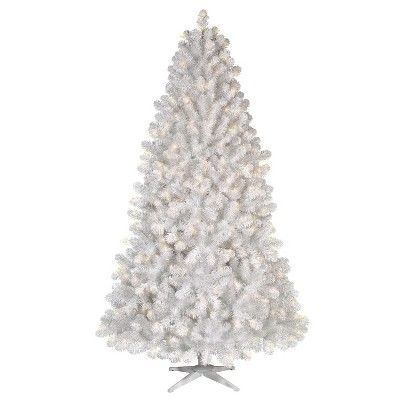 7ft Prelit Artificial Christmas Tree White Alberta Spruce Clear