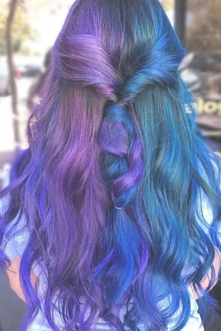 Half Blue And Purple Hairstyle For Long Hair Halfdyedhair Halfuphalfdownhairstyle Longhair In 2020 Purple Hair Split Dyed Hair Long Hair Styles