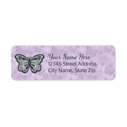 Bold Butterfly Return Address Labels  Pattern Sample Design