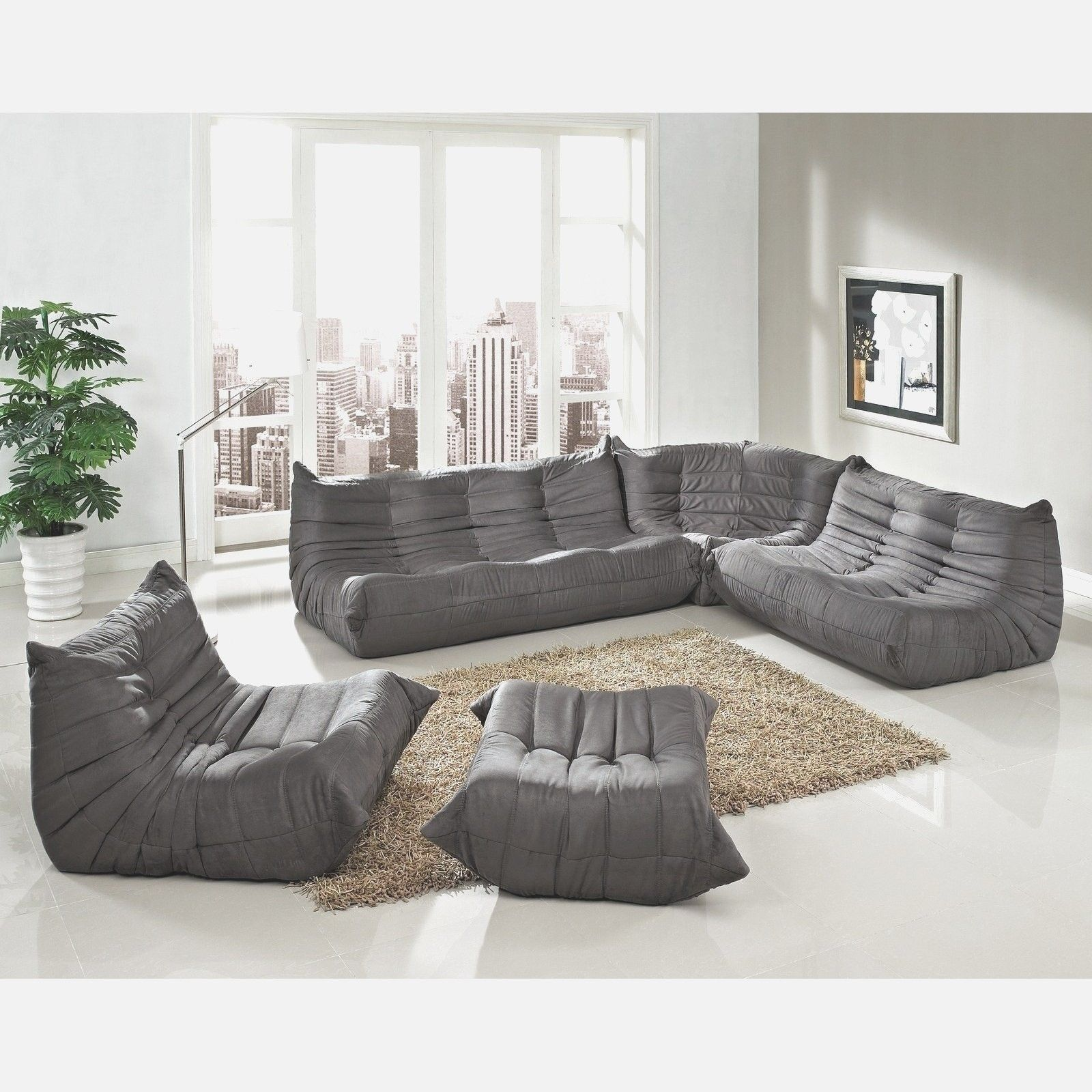 Light Gray Sectional Sofa Bennetti Modern Ferrara Fabric Leather