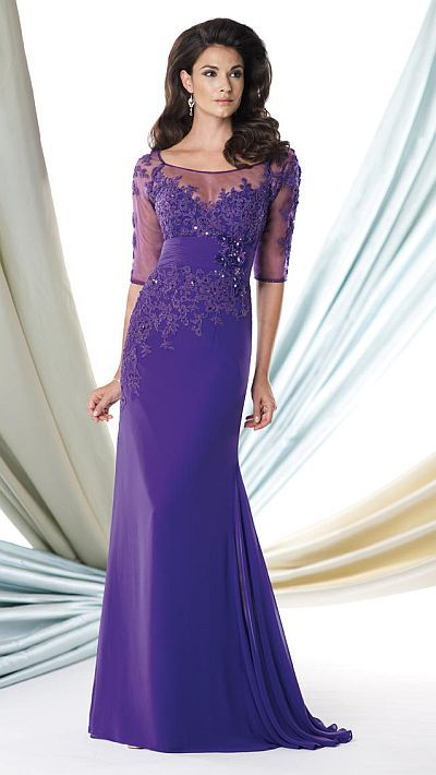 Georgette chiffon long bridesmaid dress with sheer elbow sleeves and an embellished bodice.