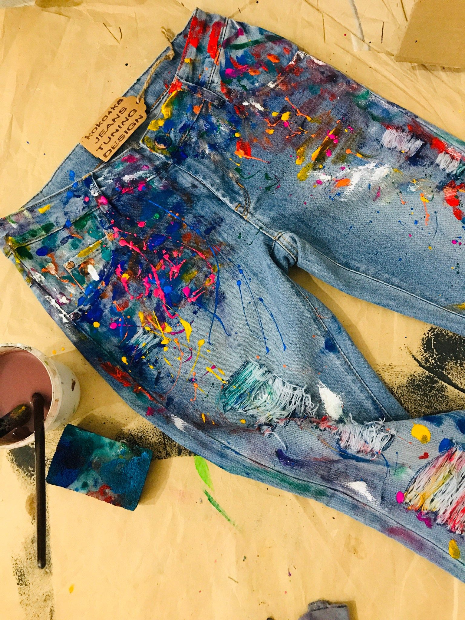 Pants blotches gift for cristmas Spray paint Paint Splatter Jeans festival clothing Hand Painted Paint splash Jeans in paint torn jeans art