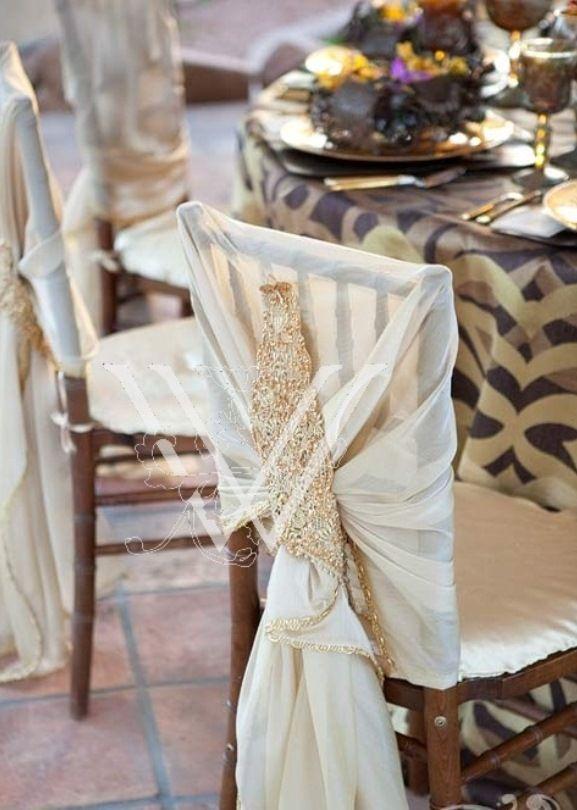 Chic ivory wedding chair sash decoration by Wildflower Linen