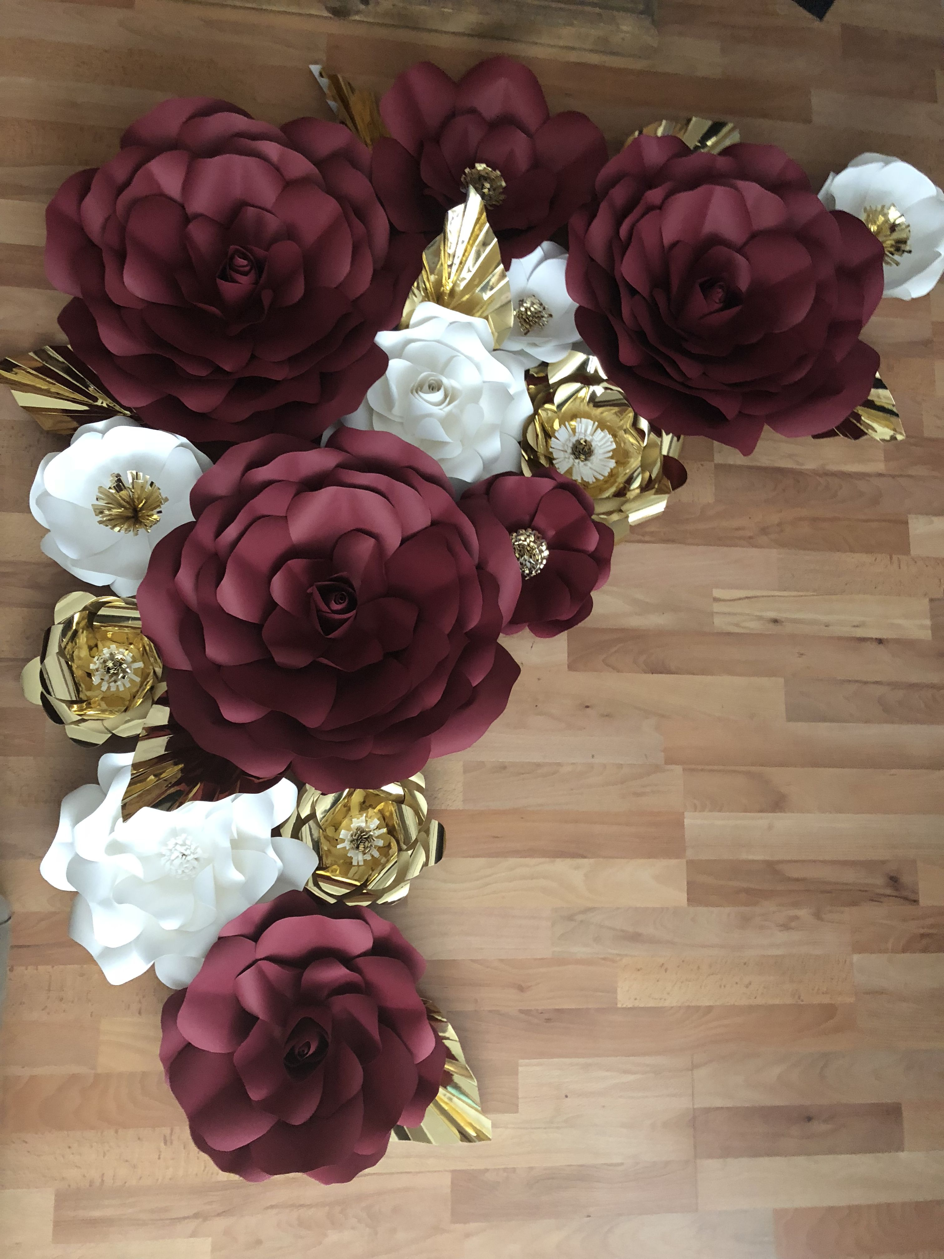 Burgundy White And Gold Paper Flowers Paper Flowers Wedding