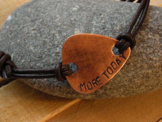Mens Copper Guitar Pick Leather by TheLandlockedDogTwo on Etsy, $21.00    I love you more today, than yesterday. But not as much as tomorrow.