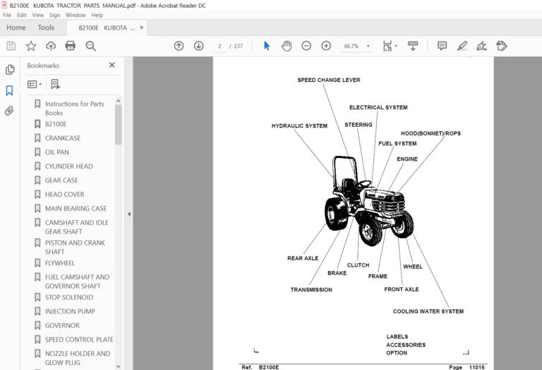 Kubota B2100e Tractor Illustrated Master Parts List Manual Pdf Download Tractors Kubota Manual