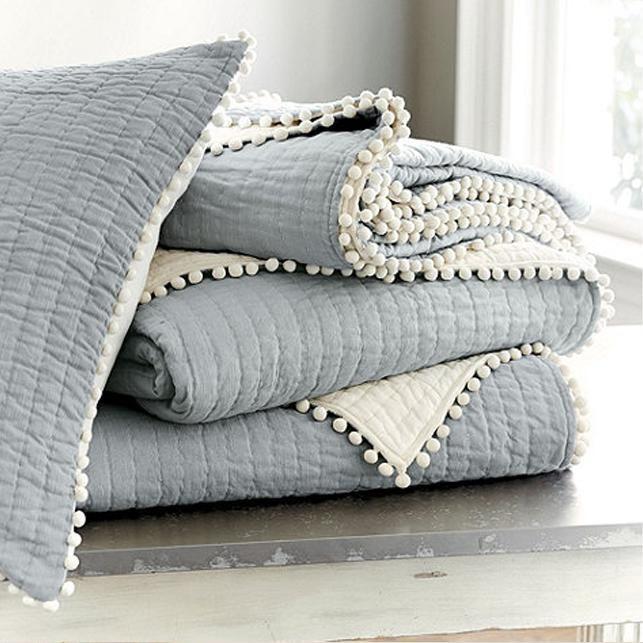 Ballard Designs blue-grey quilt with ivory pom pom trim. Check out ... : blue gray quilt - Adamdwight.com