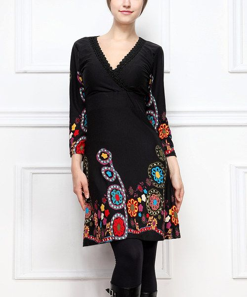 Take a look at the Reborn Collection Black Paisley Surplice Dress on #zulily today!