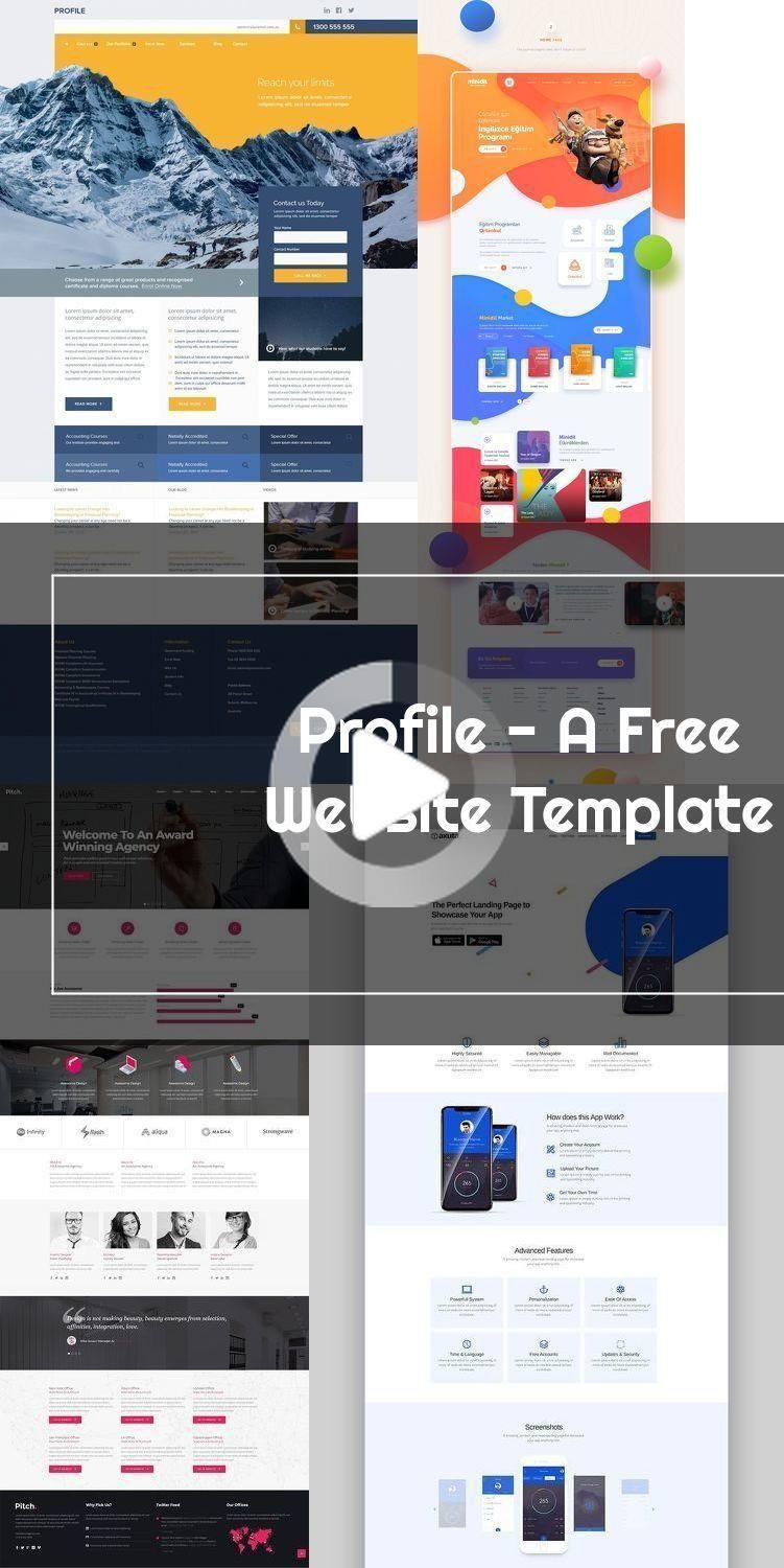Profile A Free Website Template Flat Free Layout Psd Resource Template Web Design In 2020 Free Website Templates Website Template Free Website