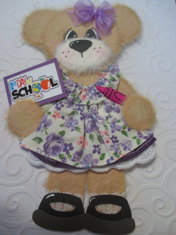 School Girl Tear Bear Paper Piecing Baby Scrapbooking Embellishment Mulberry #Scrapbooking