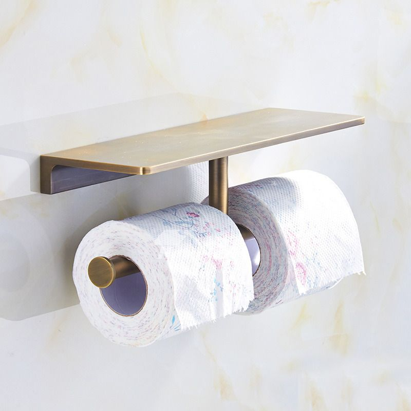 Luxury Gold Modern Double Toilet Paper Holder Polished Brass