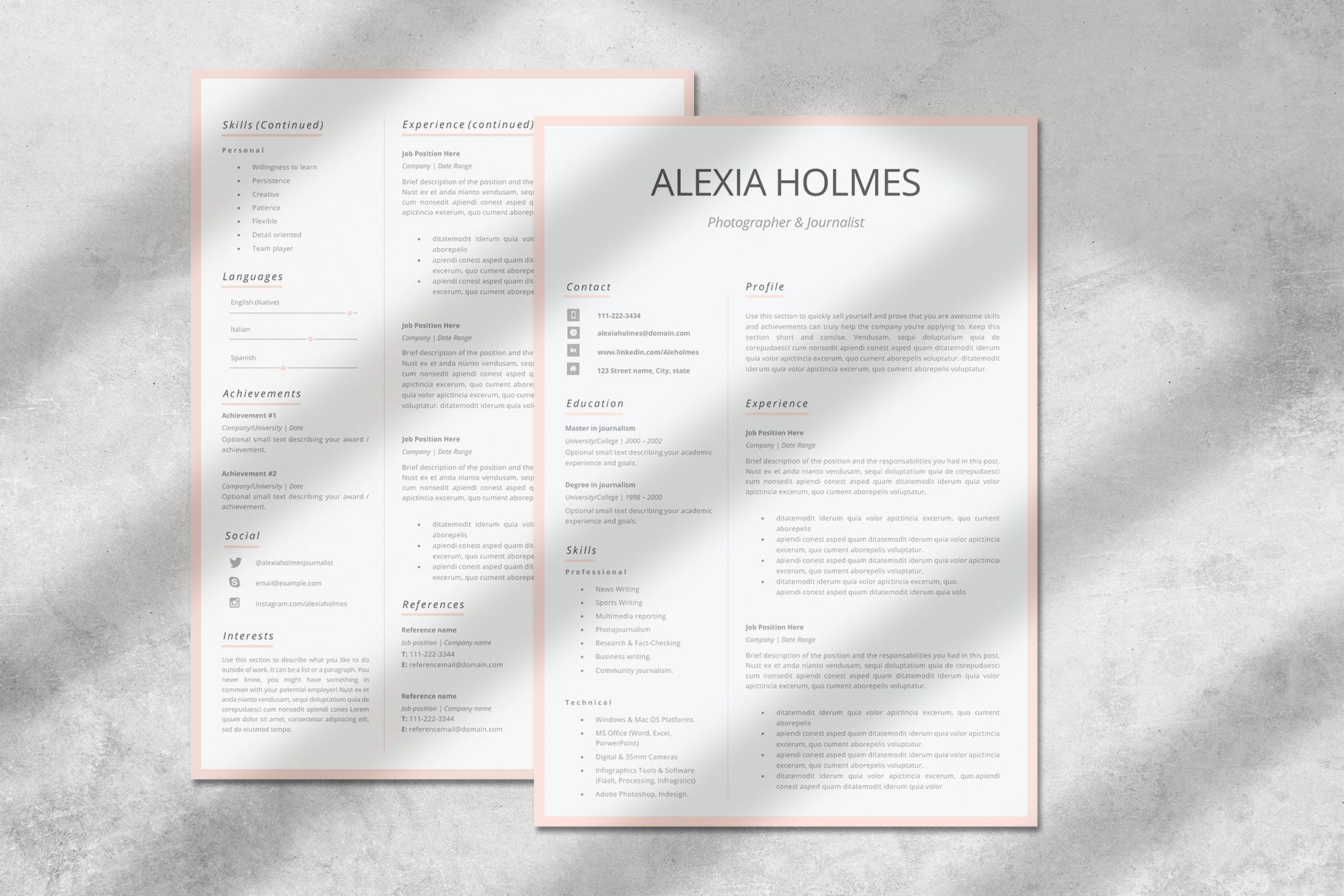 Creative Resume Templates For Ms Word And Mac Pages Professional Resume Templates And Matchi Resume Cover Letter Examples Modern Resume Design Creative Resume