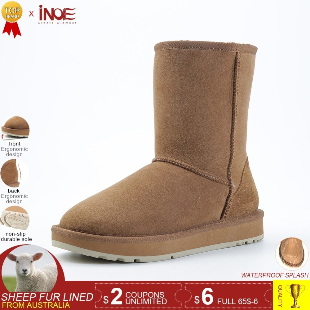 99d4098fb9e INOE real sheepskin leather suede winter snow boots for women sheep wool fur  lined winter shoes high quality black brown 34-44 Review