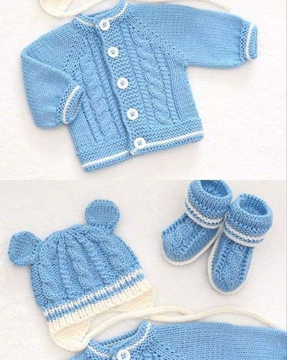 Juego de bebé, chaqueta de punto, botines y sombrero, 100% lana Merino. Regalo de Baby Shower. HECHO A LA ORDEN