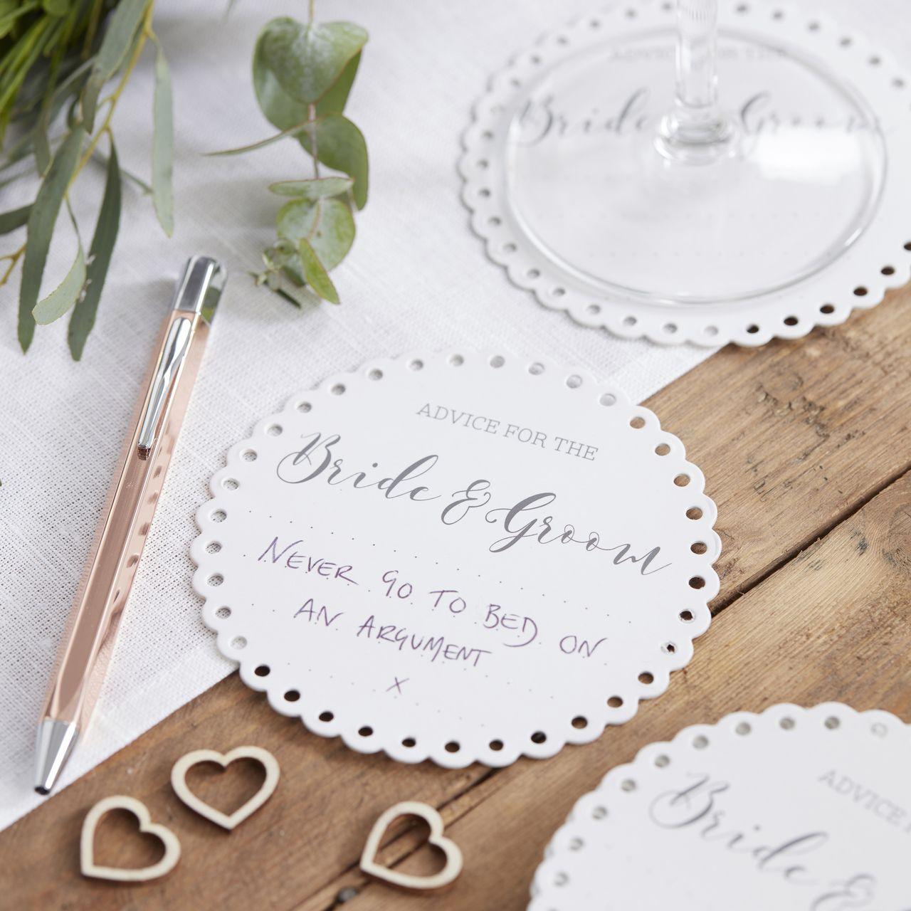 Advice For The Bride & Groom Coasters - A Wedding Less Ordinary ...