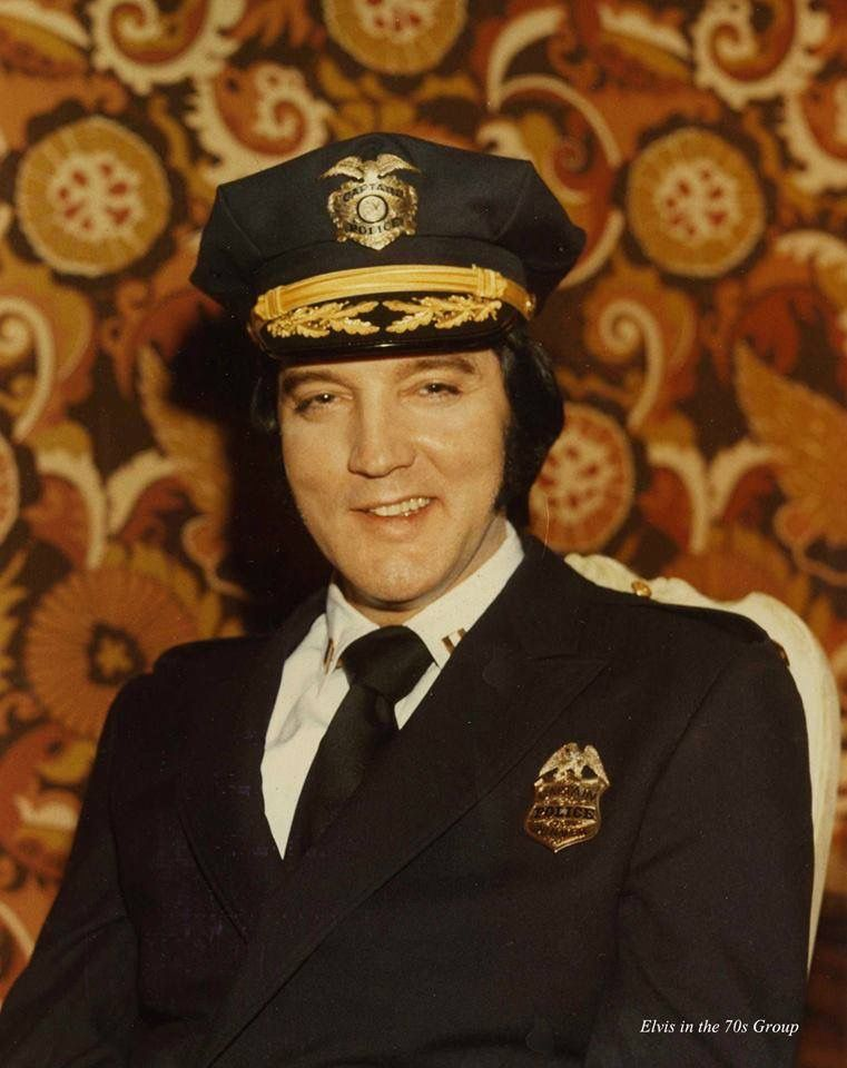 Elvis at the Denver Police headquarters, January 1976...
