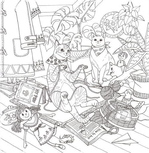 Cat Coloring Book Home Decor Pinterest Coloring Books