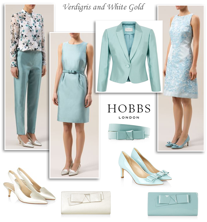 6684fe9b49a3 Hobbs Mother of the Bride outfits 2015 verdigris green blue and white gold  shimmer shift occasion dresses matching jackets evening trouser suits