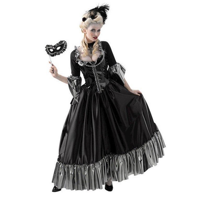 Masquerade Ball Queen Adult Costume Masquerade Ball Queen Adult CostumeYou'll have everyone in the room wondering who the seductive, dark and mysterious woman is. Perfect for Halloween or any masquerade ball. Look in our store for wig-sold seperately.Item Includes:Black Ball Gown With Silver Russle TrimBlack Face Handheld MaskPlease Note:Our products come with the items listed in the above product description. For accessories shown in the photo, please check our store for availability, as we sto