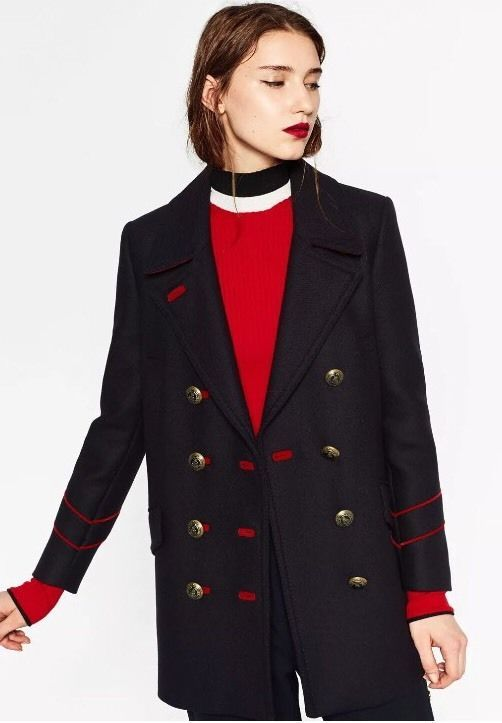 008b7ca0 Zara Navy Blue Red Wool Military Style Coat Gold Buttons Size S ...