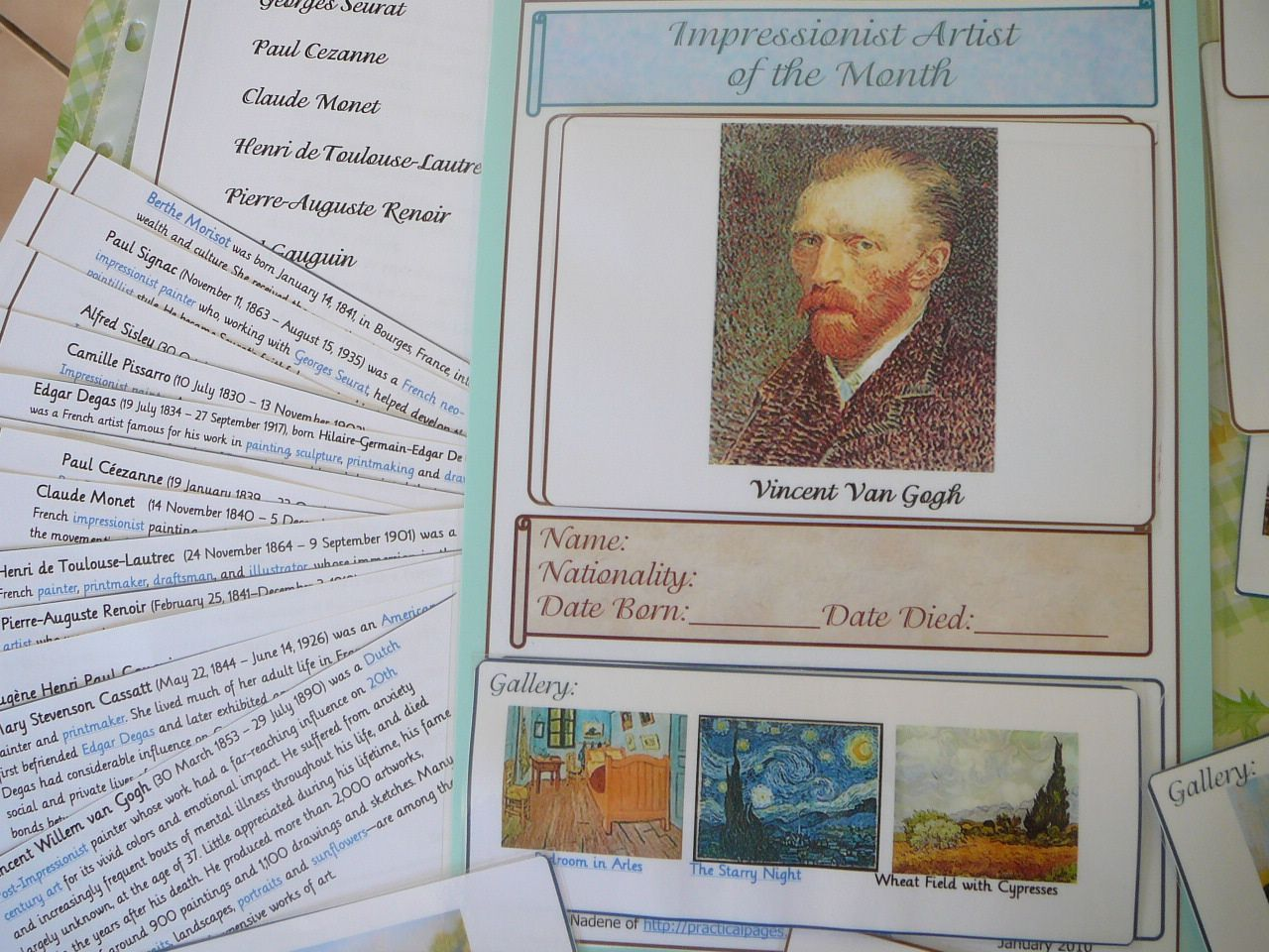 Famous Impressionist Artists A Wall Chart For Art