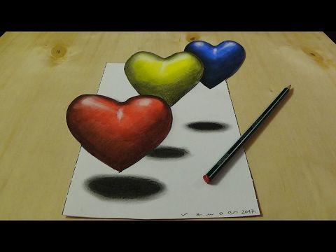 3d Dibujo Y Color Para Los Niños Colorear 3d Corazones Youtube