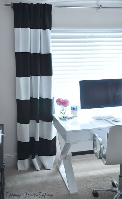 DIY Painted Striped Curtains She Paints White Onto Black But I Would Probably Do The Opposite Because It Be Easier