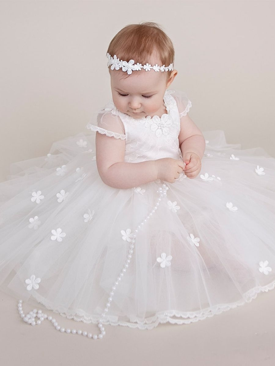 Lace Edge Cap Sleeves Flowers Baby Girl s Christening Gown Girls Baptism  Dress c941c90516e9