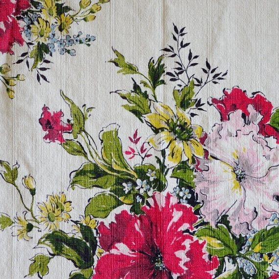 FABRIC VINTAGE BARKCLOTH Red Pink Yellow by DartingDogSewingShop, $3.55