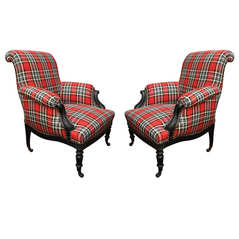 A Pair of Napoleon III Ebonized and Cotton Tartan Bergeres  France  Third Quarter 19th Century  A Pair of Napoleon III Ebonized Bergeres with Red Cotton Tartan Upholstery and Nailhead Trim