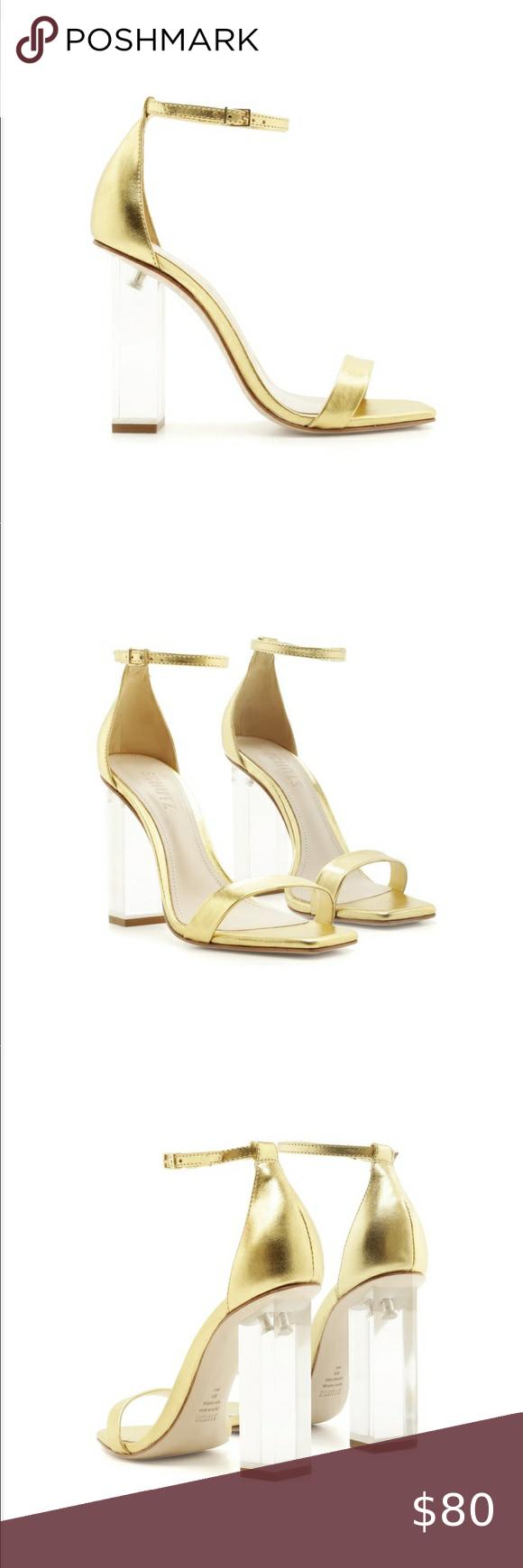 NIB Schutz Sanai Gold Metallic Sandal Sz 8.5 Brand New in their box with origina...