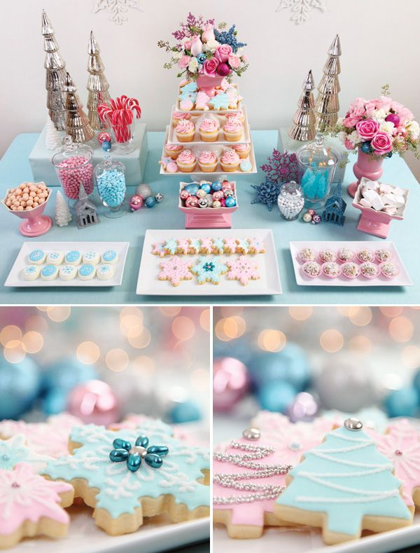 Vintage Pastel Christmas Dessert Table. Inspired by the lovely vintage pink pottery that's incorporated into the design, the  table features a vintage-pastel palette of pink & blue, plus sparkly holiday accents, colorful floral arrangements, and a variety of gorgeous treats