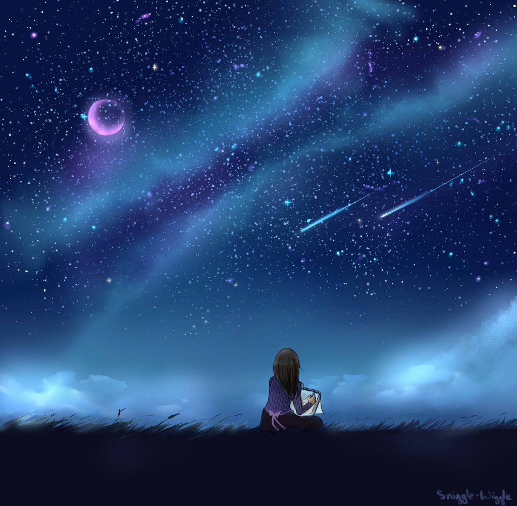 Sky Anime Girl Looking Into Night Sky Google Search Something Awaits
