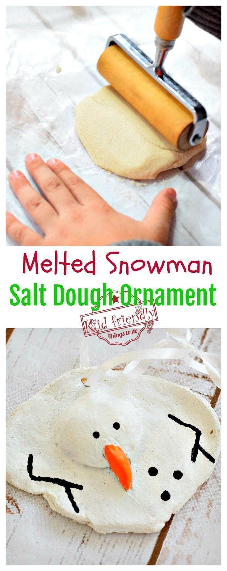 A Diy Melted Snowman And Candy Cane Salt Dough Ornament Idea And Recipe For Christmas With Kids Salt Dough Salt Dough Ornaments Melted Snowman