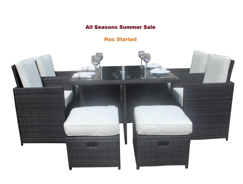 Vr Direct Jt04 Salon De Jardin En Rotin 9 Pieces Avec Table En Verre Design Cube Amazon Fr Jardin Table En Verre Design Table En Verre Mobilier Jardin