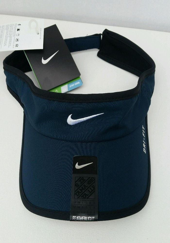 b1ba6728e8555 Nike Dri-Fit Feather Light Visor Blue w  White Swoosh New Unisex Adult One  Size  Nike  AdultVisor