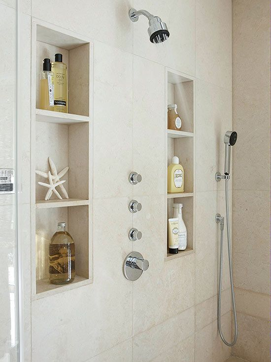 Square Built In Shower Shelves. I Like The Built In Shelves