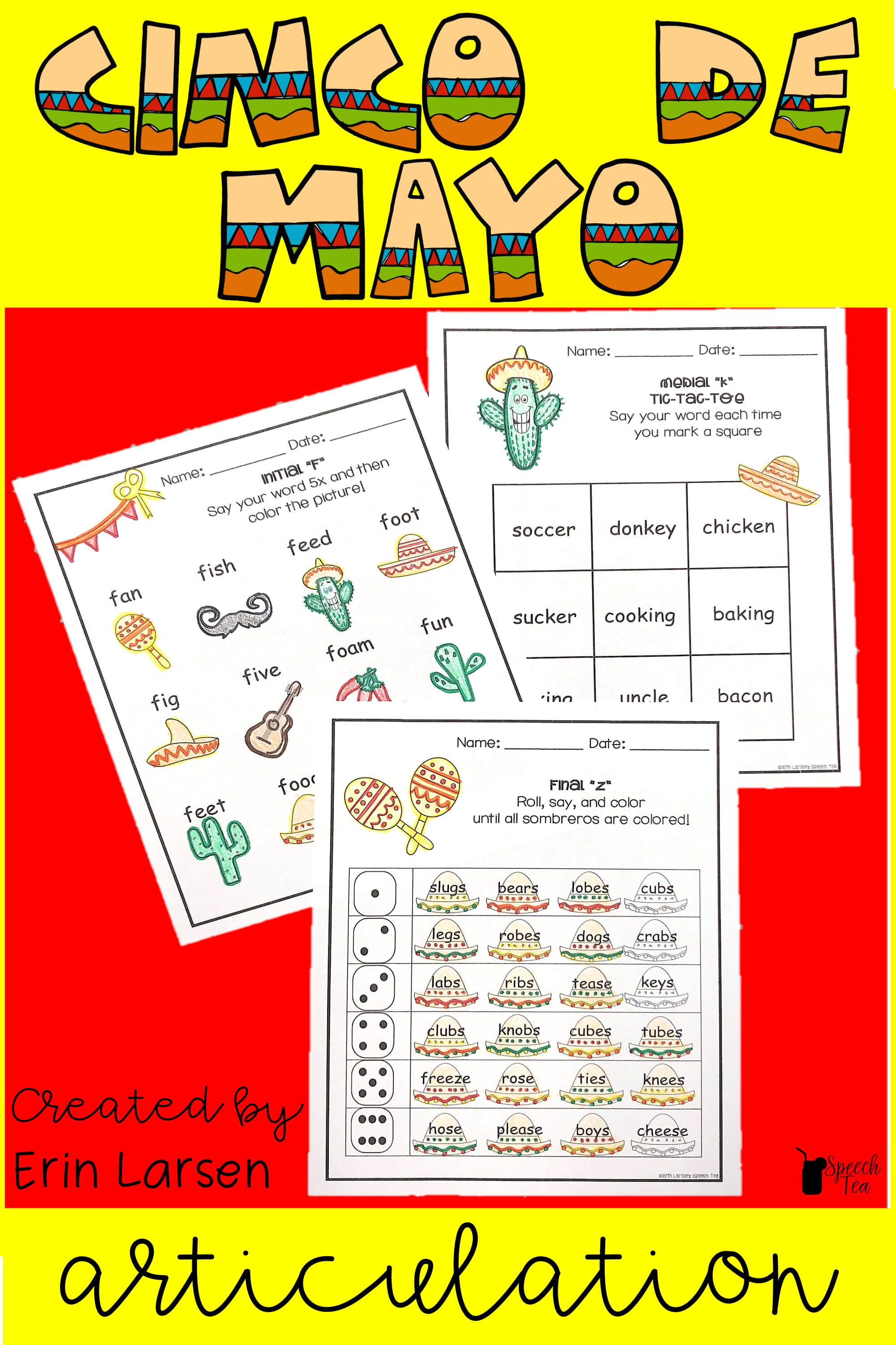 Cinco De Mayo Articulation Activities All Sounds