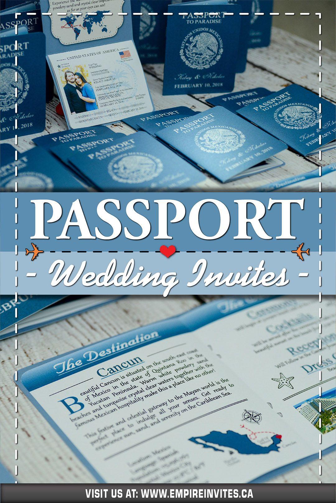 ☀️Blue passport wedding invitations for a destination
