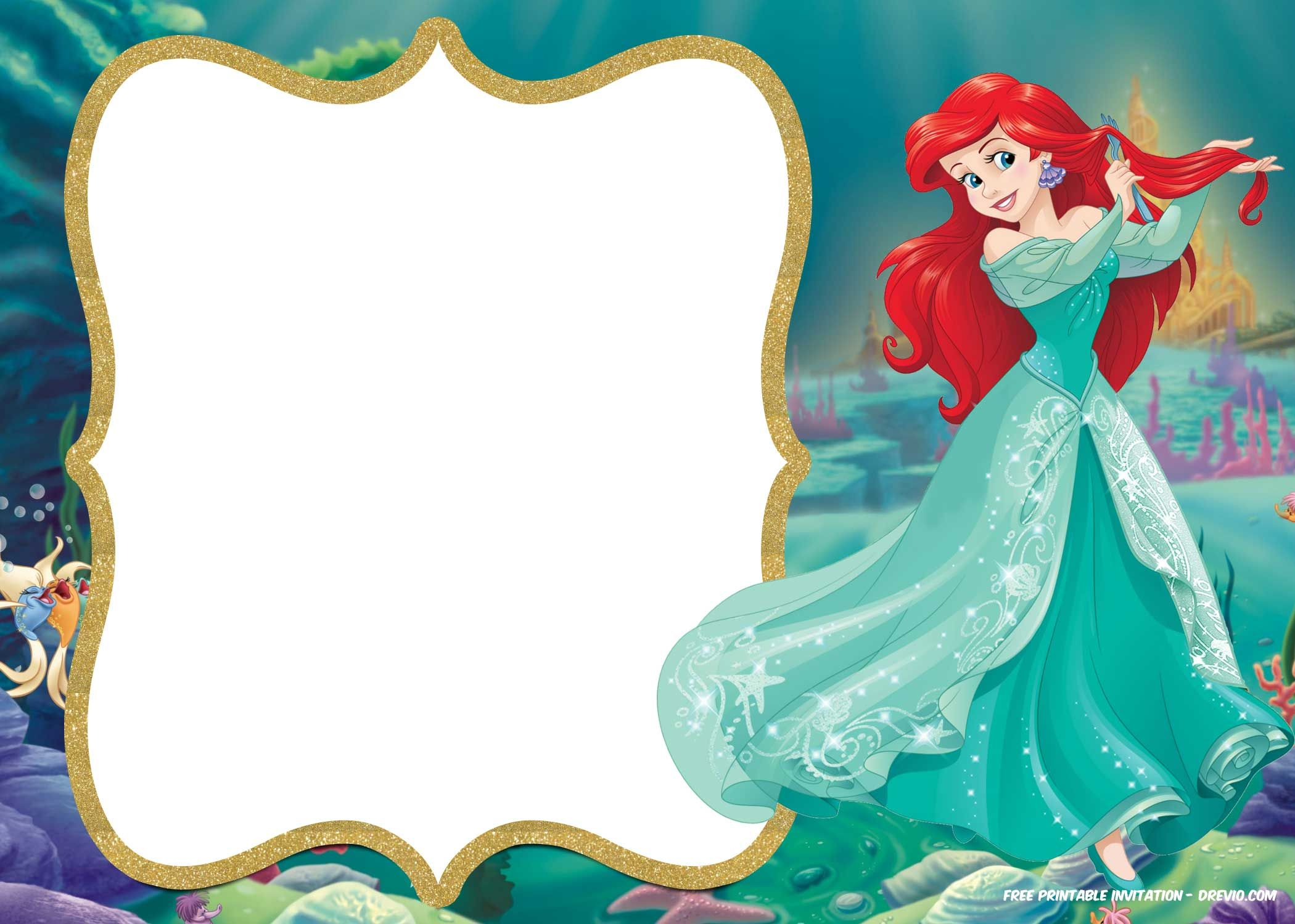 Little Mermaid Royal Invitation Templates Backgrounds Pinterest