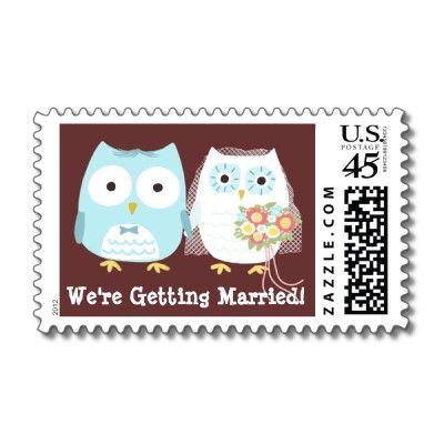 adorable owl wedding postage