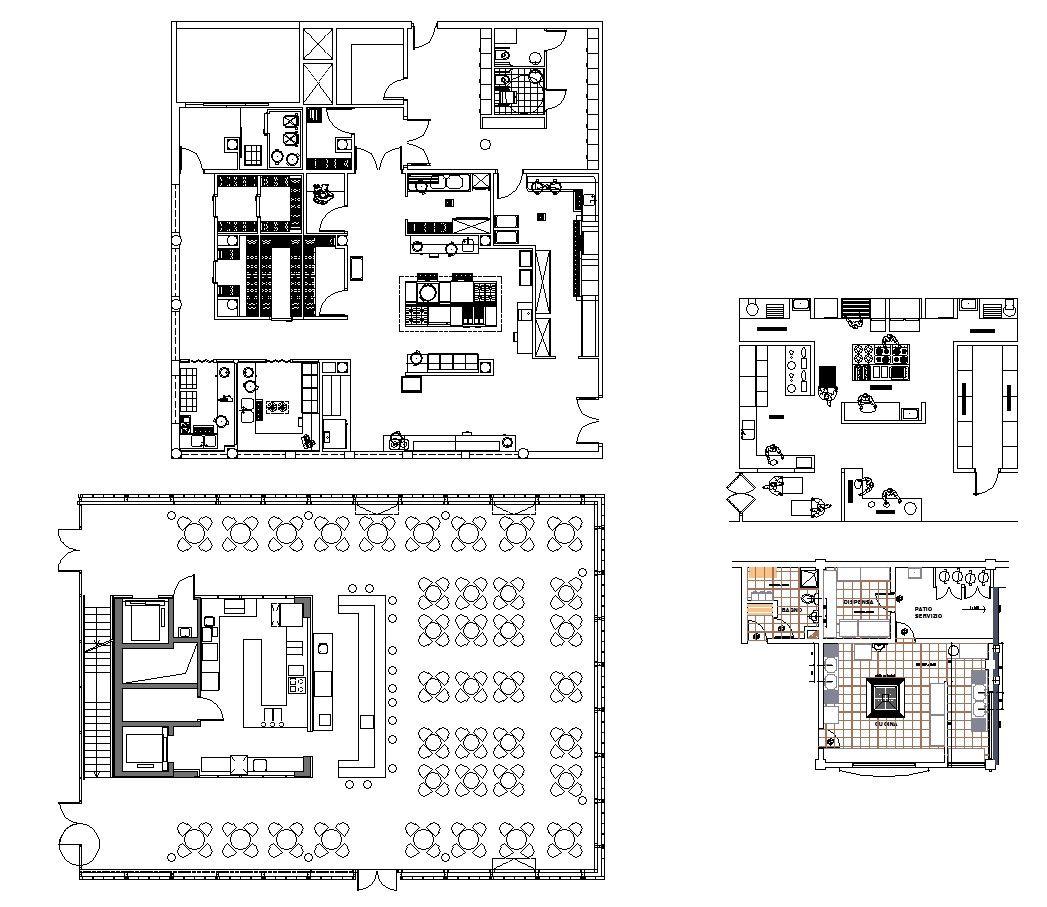 Restaurant blocks and plans cad design free cad blocks for Townhouse plans for small blocks