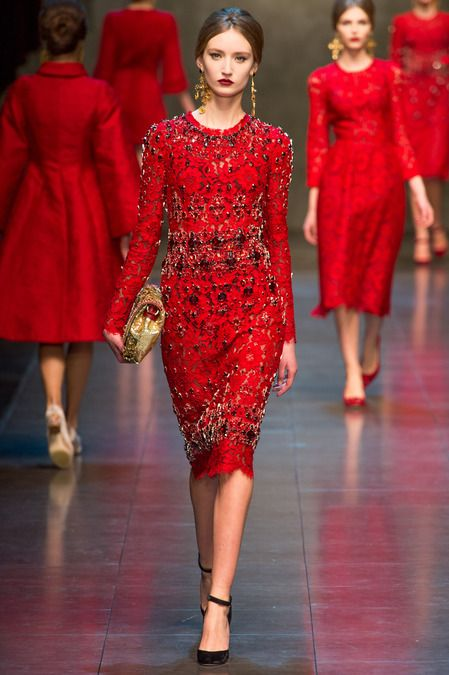 red lace dress long sleeve dolce and gabbana - Google Search