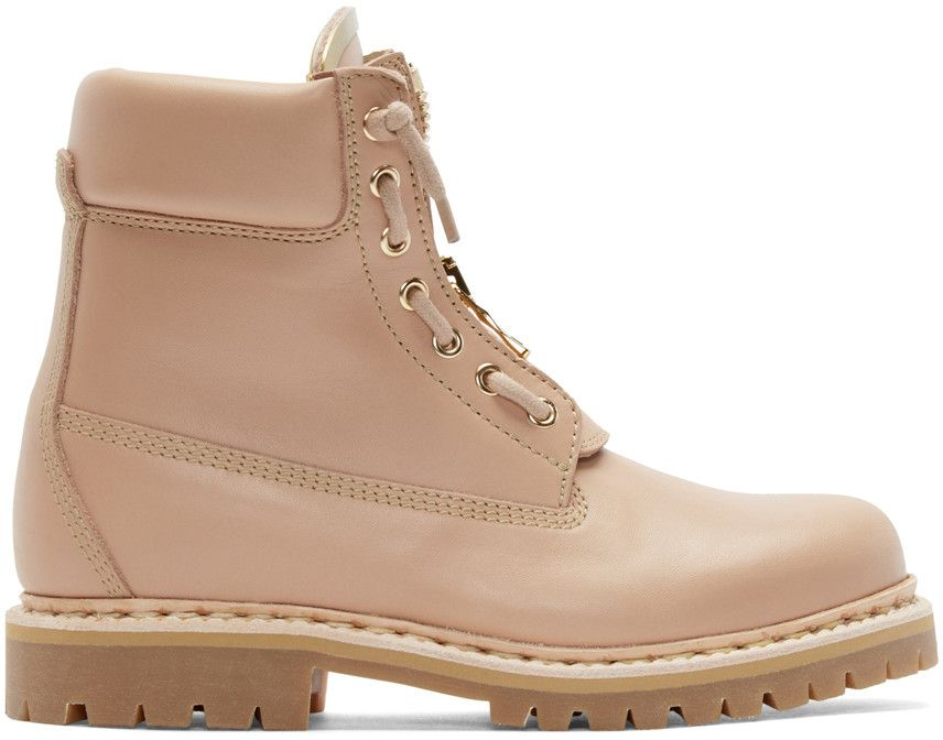 f32402d7f00 Balmain - Pink Leather Taiga Ranger Boots | shoes | Pink boots, Pink ...